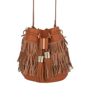 NEW! See by Chloe Fringe Vicki Bucket Bag Brown